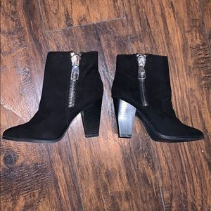 Express black booties with zipper detail size 7
